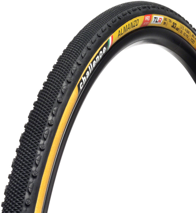 Challenge Alamanzo Gravel Pro Tire - 700 x 33, Tubeless, Folding, Black/Tan