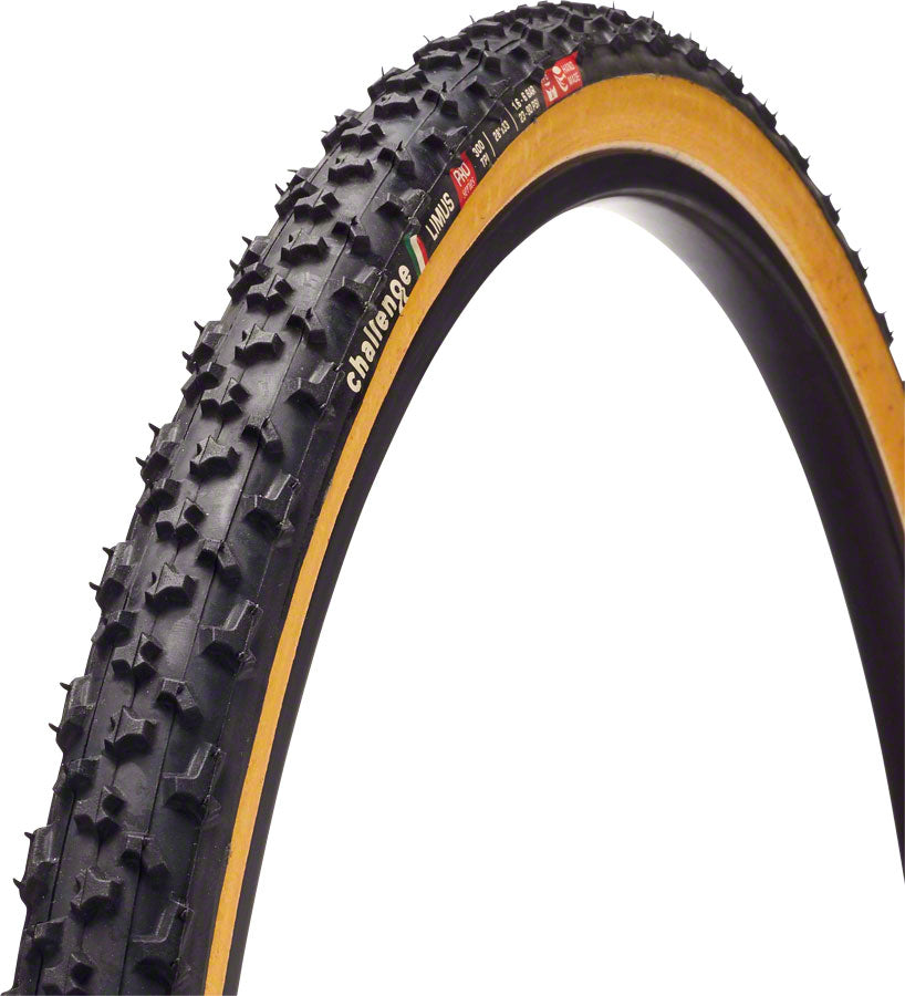 Challenge Limus Tire: Handmade Clincher Open Tubular, 700x33, 300tpi, Black/Tan