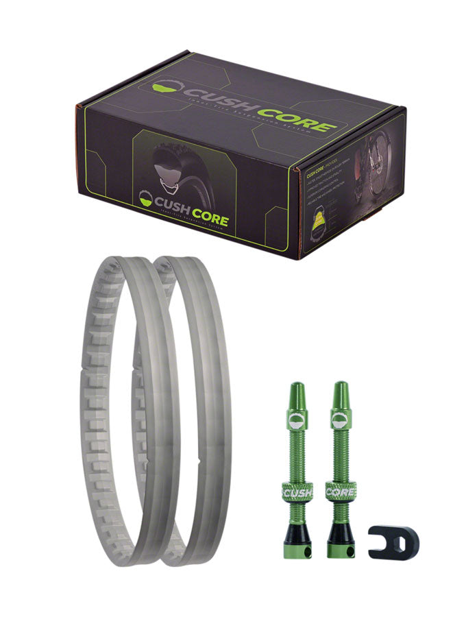 "CushCore Plus Tire Inserts Set 27.5""+ Pair, Includes 2 Tubeless Valves - Tubeless System Enhancements - Foam Tire Inserts - Pair"