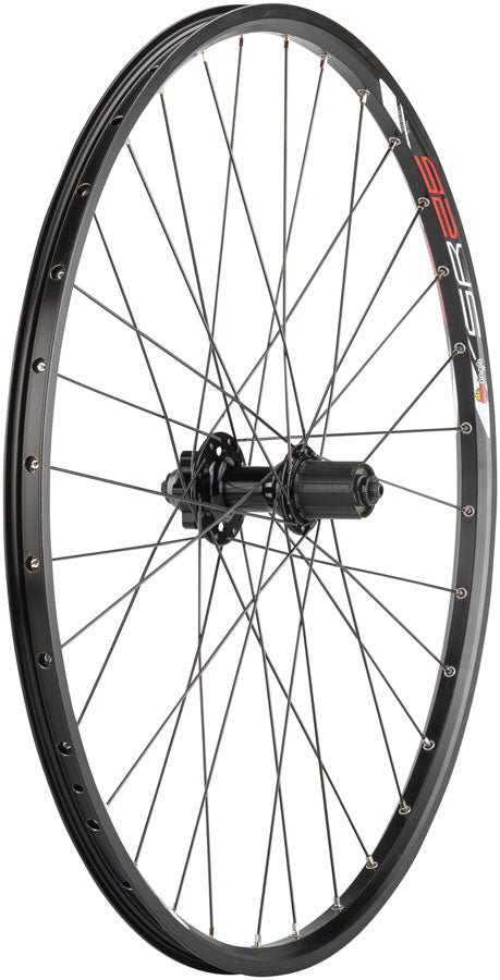 "Quality Wheels Value Double Wall Series Disc Rear Rear Wheel - 26"", QR x 135mm, 6-Bolt, HG 10, Black, Clincher - Rear Wheel - Value Double Wall Series Disc Rear Wheel"