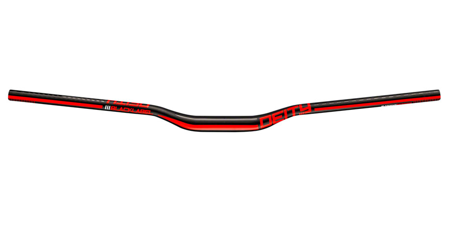 Deity Blacklabel 800 Handlebar: 25mm Rise, 800mm Width, 31.8 Clamp, Black w/ Red