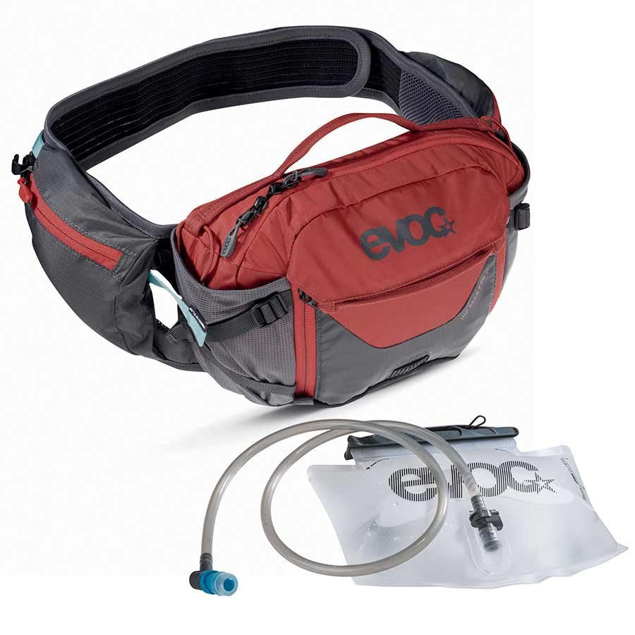 EVOC Hip Pack Pro 3L+ 1.5L Bladder, Hydration Pack, Bladder Included, Grey/Red