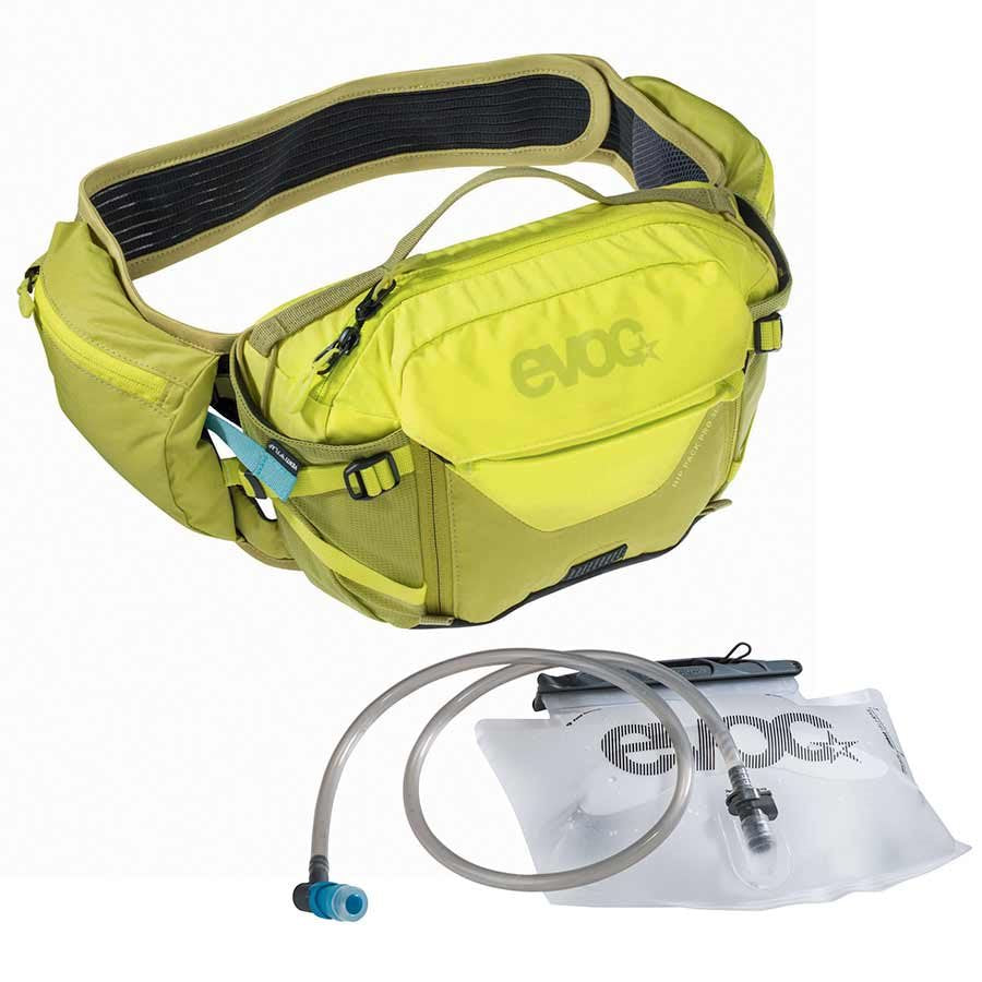EVOC Hip Pack Pro 3L + 1.5L Bladder Included, Hydration Pack, Sulpur/Green