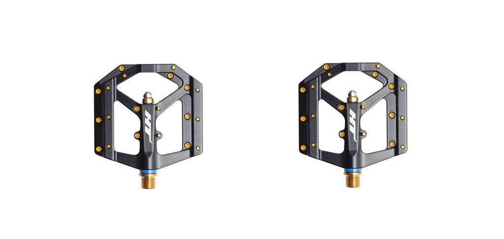 HT Components ME03T Platform Pedals with Titanium 9/16 Spindle Black Gold Pins