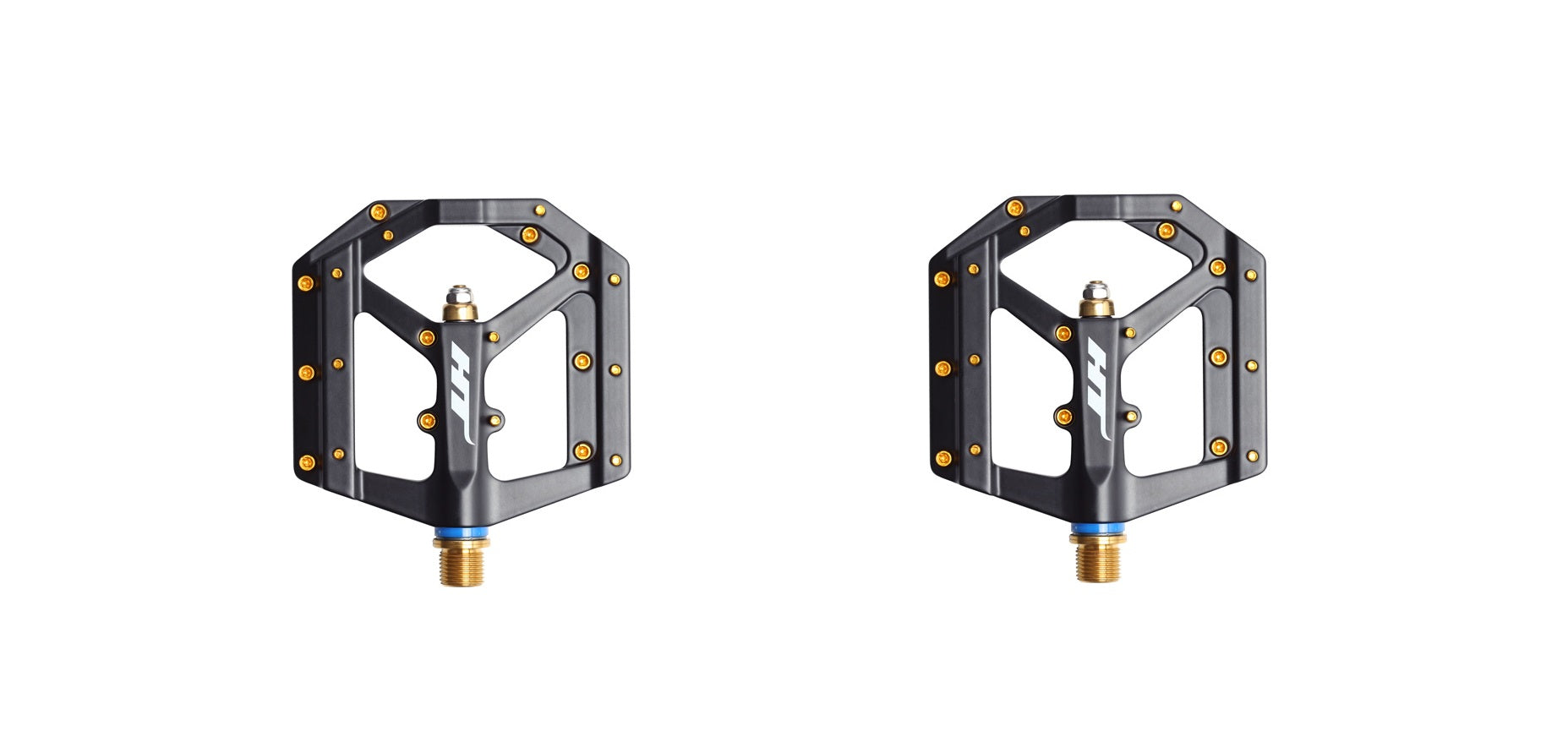 HT Components ME03T Platform Pedals with Titanium 9/16 Spindle Black Gold Pins MPN: HT-ME03 BLACK-Ti