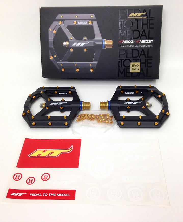 HT Components ME03T Platform Pedals with Titanium 9/16 Spindle Black Gold Pins MPN: HT-ME03 BLACK-Ti Pedals ME03T