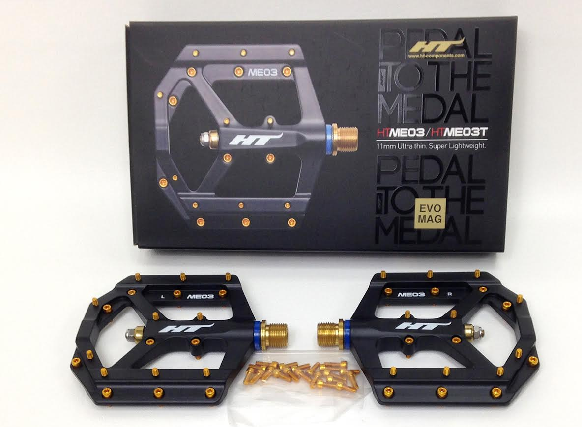 HT Components ME03T Platform Pedals with Titanium 9/16 Spindle Black Gold Pins - Pedals - ME03T