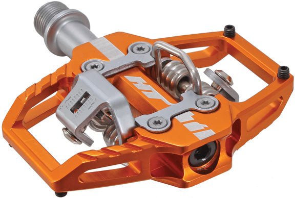 HT Components T1 Trail Pedals - Orange Clipless with Cleats