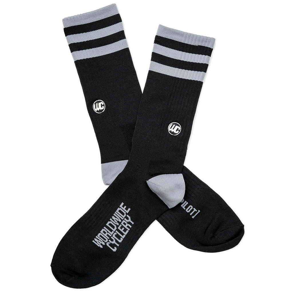 Worldwide Cyclery Crew Socks Stealth/Grey