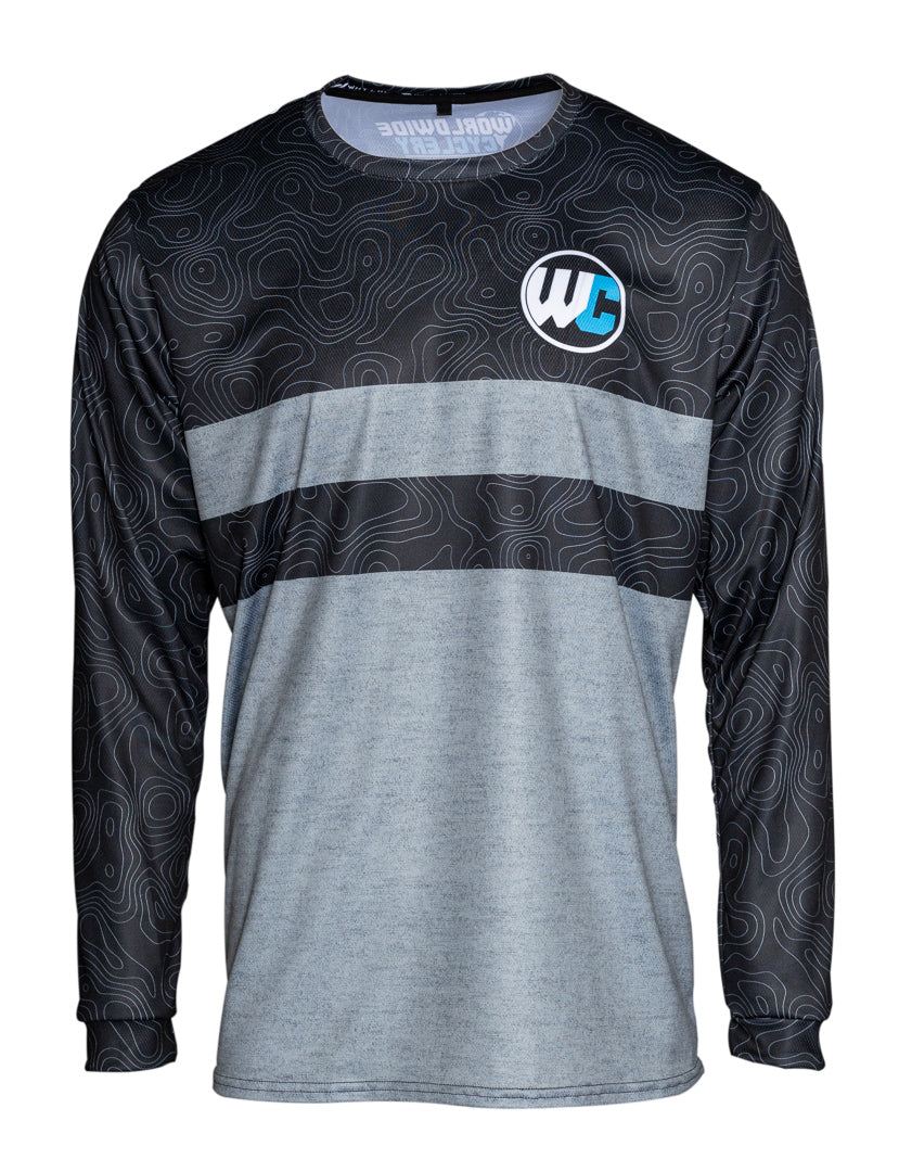 Worldwide Cyclery Jersey - Topo Heather Grey Long Sleeve, 2X-Large