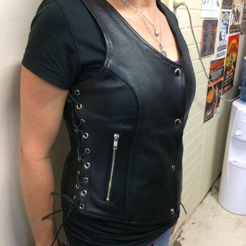 Chicago Ladies Calfskin Leather vest