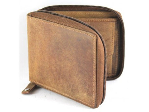 Wallet RFID FULL GRAIN COW HIDE HUNTER NU-BUCK LEATHER WALLET