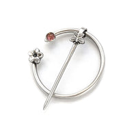 Tourmaline Butterfly and Flower Penannular Brooch