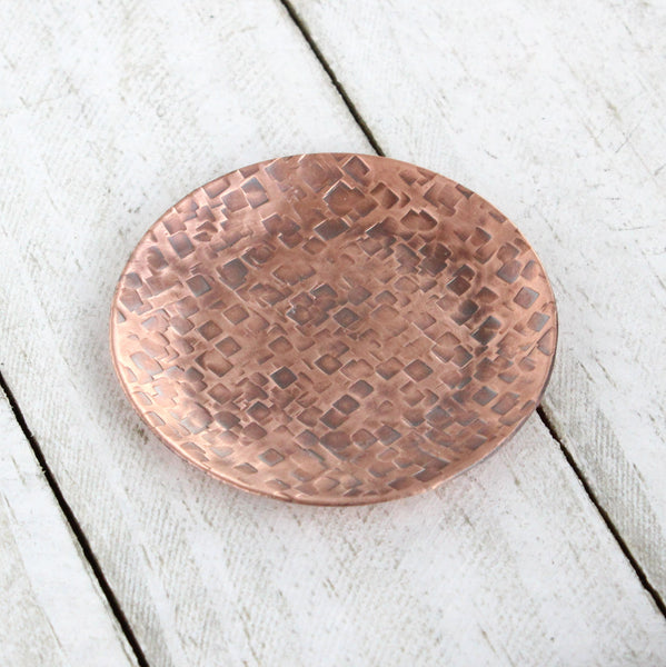 Dappled Squares Copper Ring Dish