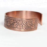 Grapes and Leaves Copper Cuff Bracelet