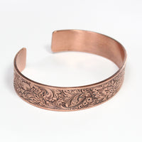 copper cuff bracelet with art deco style poppy flower