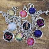 Sparkling Dichroic Glass Sterling Silver Charms