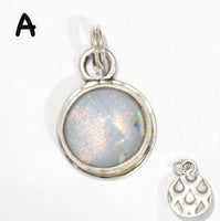 White Dichroic Glass Charm