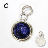 Blue Dichroic Glass Charm