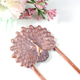 Peacock Copper Hair Fork Handmade
