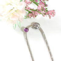 Flower and Bright Amethyst Hair Fork