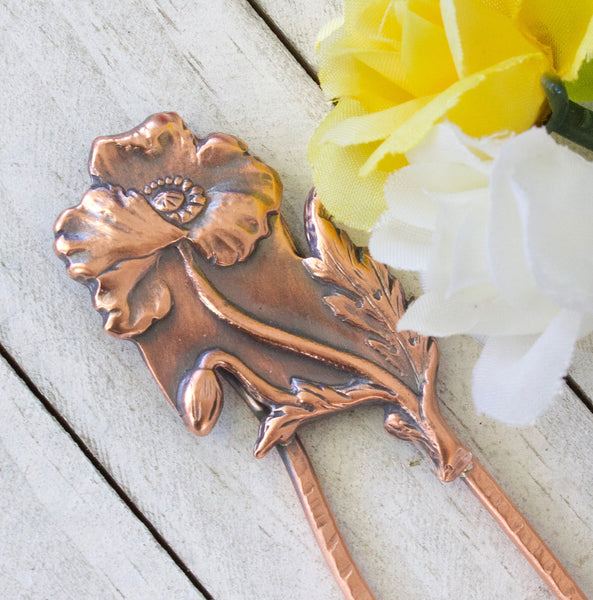 Poppy Flower Copper Hair Fork