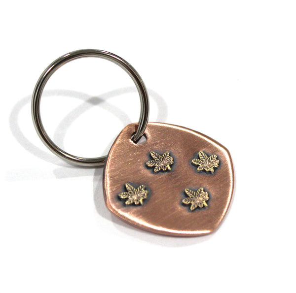 Weed Keychain Bronze on Copper