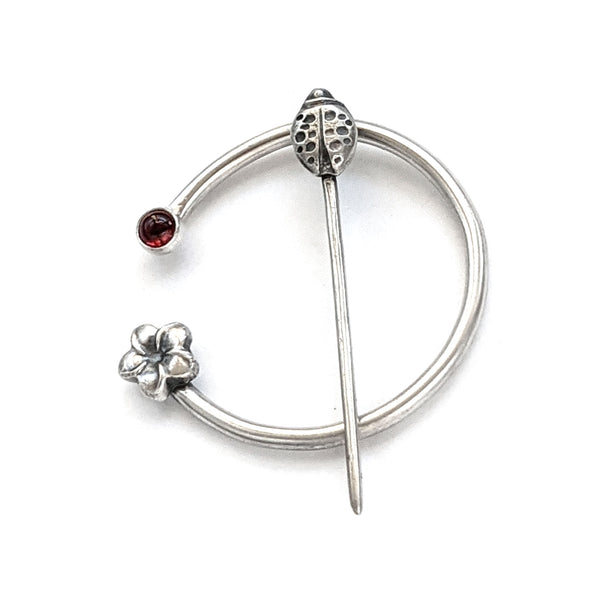 Garnet Ladybug and Flower Penannular Brooch