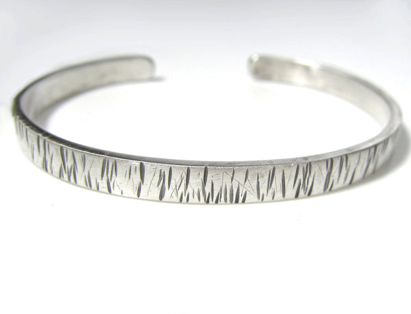 Lines Texture Sterling Silver Cuff Bracelet