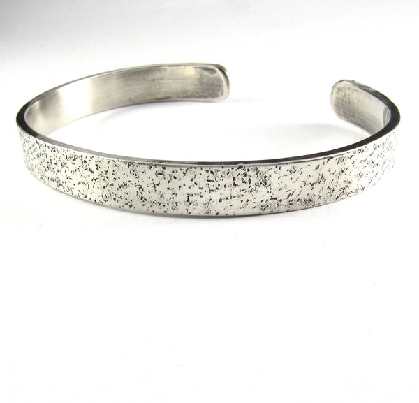 Men's Textured Sterling Silver Cuff Bracelet