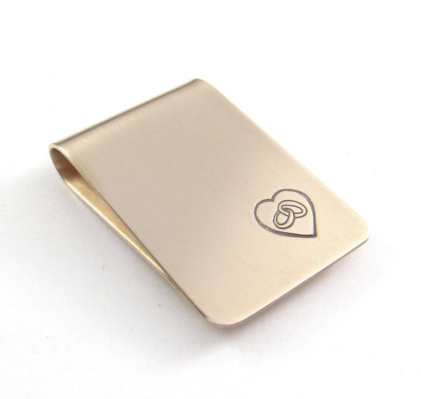Wedding Rings and Heart Money Clip Bronze Sterling Silver Personalized