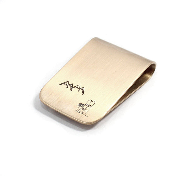 Skis Mountain Money Clip Bronze Sterling Silver Personalized