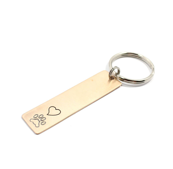 heart and pawprint keychain stamped handmade personalized