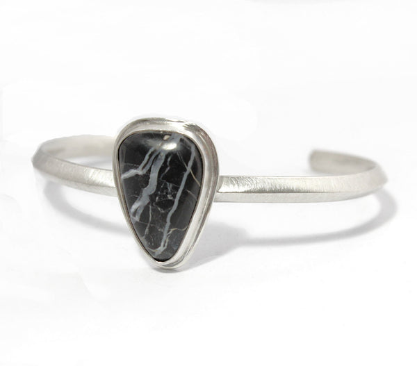 White Buffalo Triangle Sterling Silver Cuff Bracelet