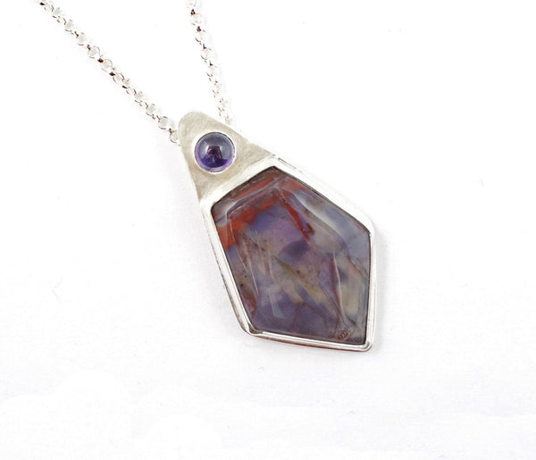 Purple Cow Agate and Amethyst Sterling Silver Pendant