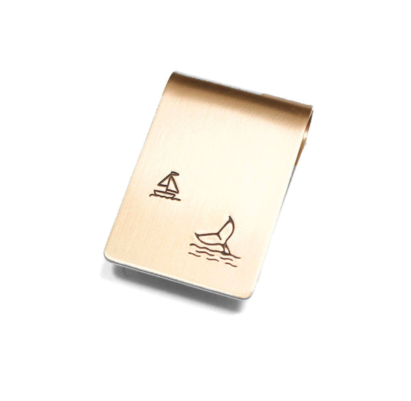 Whale Watching Money Clip Bronze Sterling Silver Personalized