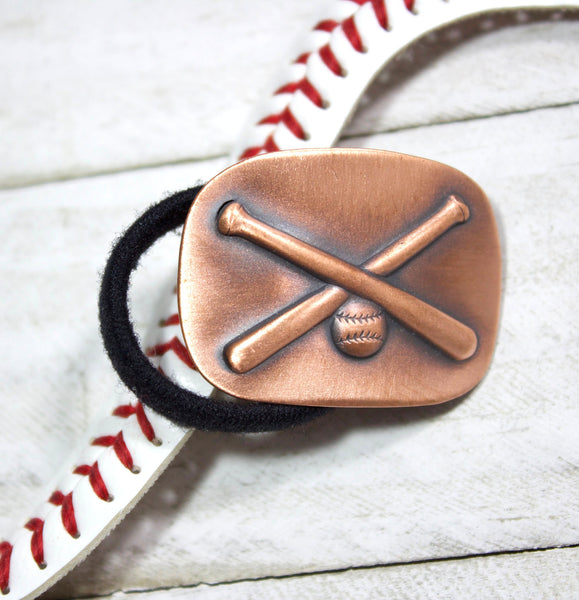 crossed baseball bats handmade copper ponytail holder