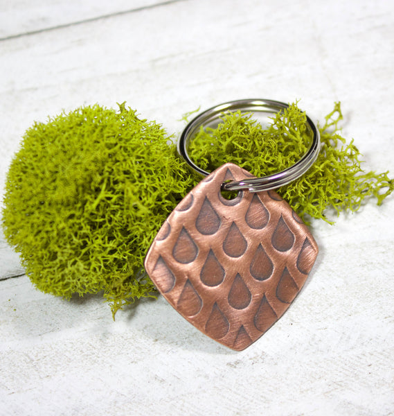 Raindrops Copper Keychain