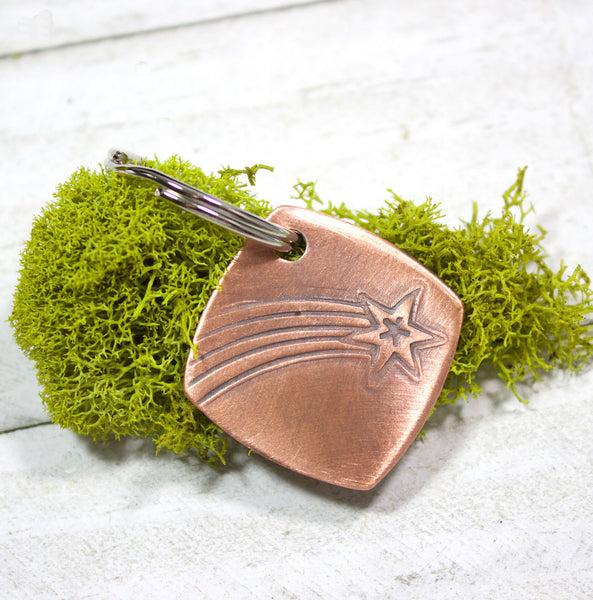 Shooting Star Copper Keychain Key