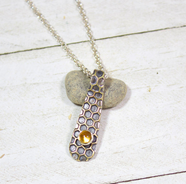 Honeycomb and Citrine Sterling Silver Pendant
