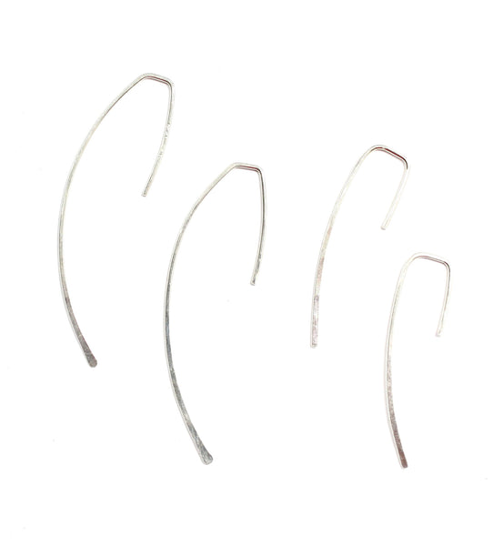 Skinny Wire Threader Earrings Curve in Sterling Silver or 14K Yellow or Rose Gold Filled