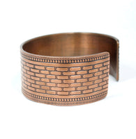 copper brick pattern cuff bracelet
