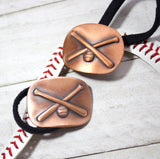 crossed baseball bats ponytail holder