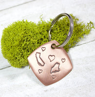 Keychain with two states and hearts