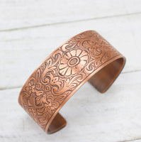 Fancy Floral Copper Cuff Bracelet