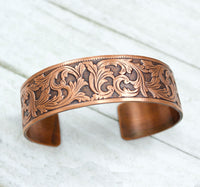 Flourish Pattern Copper Cuff Bracelet Vintage Design