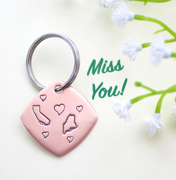 Love Across The Miles Keychain with Two States