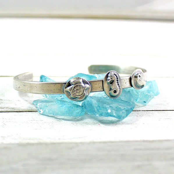 Ocean Life Cuff Bracelet in Sterling Silver with Turtle Seahorse and Fish