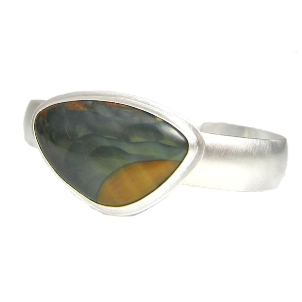 blue mountain oregon jasper silver cuff bracelet