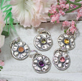 Flower Sterling Silver Charm With Gemstones